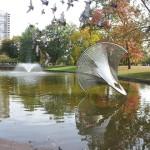 Birds flying over the Sphericon