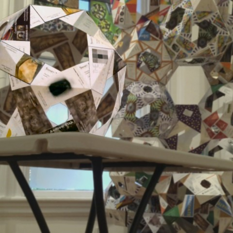 A new Mecon assembled at the workshop from business cards collected in Nave Gallery Annex